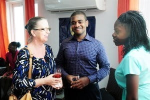 Harriet Garcia, HR Manager, Finance Sector, Consolidated Finance and Brydens Insurance (left) chats with interns: Kris Cadogan (centre) and Shanique Adams both of whom interned with Consolidated Finance.