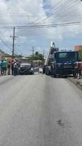 As a result of the accident, the driver and passengers in the motor car Joanne Odle 34years and Joel Odle 9 years of Silver Hill, Christ Church received serious injuries. They were trapped in the badly damaged vehicle, and were extricated by members of the Barbados Fire Service.