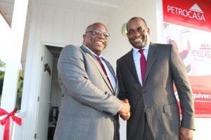 Kittitian Prime Minister Dr. Timothy Harris greeted by Dominican PM Roosevelt Skerrit