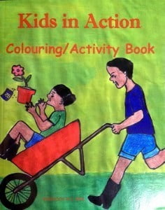 "Cover of the ""Kids in Action"" Colouring/Activity Book."