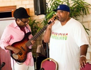 Nicholas Brancker and Biggie Irie performing an interpretation of Bob Marley's Redemption Song