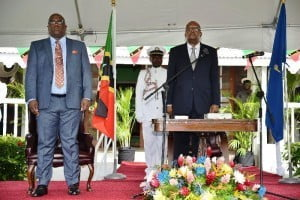 Prime Minister of St. Kitts and Nevis Dr. Timothy Harris (Left) and Governor General His Excellency S.W. Tapley Seaton (right) during the public swearing-in ceremony