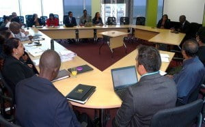 Minister Gopee-Scoon meets with the Ministry's Executive Management team