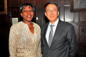 Jeanne Rogers-Vanterpool, Présidente, Office de Tourisme de Saint-Martin, l, at ICN 2014 with Larry Lee, President of China Daily USA. (Sharon Bennett/ICN image)