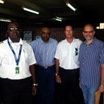 At the Cane field airport, Dominica on Saturday (l-r): JAGS co-Pilot; Minister of National Security, Justice and Immigration Hon.. Rayburn Blackmoore; JAGS Pilot;; CARICOM Secretary-General Ambassador Irwin LaRocque