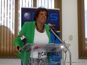 Brenda Pope, an advisory partner with accounting firm KPMG and a co-founder of Systems Caribbean which tallies Bajan radio listenership, addressed participants at the External Stakeholders Consultation held by the Barbados Statistical Service at the Cave Hill School of Business.