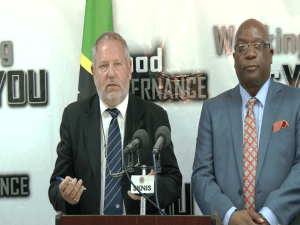 Dave King (left) Security Consultant and Dr. Timothy Harris (right) Prime Minister of St. Kitts & Nevis