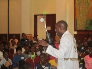 Roger Moore - CEO, MAD Science Inc (Eastern Caribbean) engages the attention of the kids