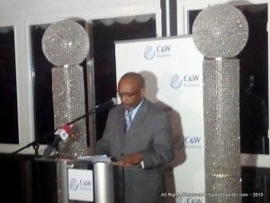Senator D'Arcy Beckles delivered the keynote address at an event celebrating the full merging of the former Lime networks with its Columbus Business Solutions counterpart into the rebranded C&W Business expressed his concern. You may recall in March, the Fair Trading Commission approved the deal where Lime and Flow became a single entity.