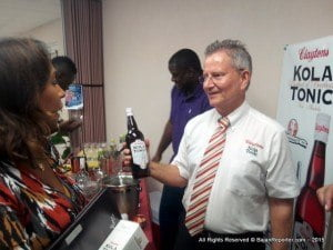 Pamela Coke-Hamilton, executive director of Caribbean Export was in Lower Estate for the label change of Clayton's Kola Tonic at Armstrong Agencies.