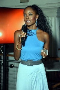 Wendy Fitzwilliam speaking at the launch party for Caribbean Next Top Model Season 2