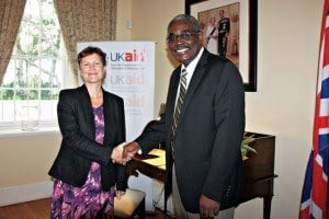Colleen Wainwright (left) and Grantley Watson after signing the Memorandum of Understanding
