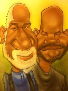 Mr. King (Left, in caricature drawn by son Tariq) made significant contributions to the Barbados Association of Non Governmental Organizations (BANGO). His collaboration with the EU Delegation services and the Government of Barbados resulted in enhanced engagement with multilateral organisations as well as the establishment of Non-State Actor Panels to serve as platforms for consultation and policy dialogue both in Barbados and the Eastern Caribbean States.