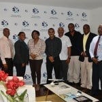 L-R: Michel Hyman (SXM Airport Manager of Operations), Lloyd Hinds (SXM Airport Director of Air Traffic Control), Maggie Gumbs (SXM Airport Marketing Officer), Regina LaBega (SXM Airport Managing Director), Rolando Brison (St. Maarten Airways Managing Director), Jeff Oliver (Shareholder of St. Maarten Airways), Elvis Quelly (Shareholder of St. Maarten Airways), Mike Granger, and Larry Donker (SXM Airport Director Operations Division). (SXM photo)