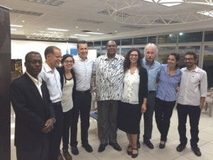 A few of the symposium participants following the November 19 panel discussions at the University of Costa Rica (UCR). L-R: Lasana M. Sekou (St. Martin), Justine Daniel (Martinique); Geaninni Ruiz Ulloa (UCR); unidentified conference participant; Dr. Lancelot Cowie (Trinidad & Tobago); Dr. Valeria Grinberg Pla (Argentina/USA); Dr. Werner Mackenbach (UCR); Maybell Vargas (UCR); Mauricio Chaves (UCR). (MV photo)