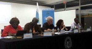St. Martin author Lasana M. Sekou (R) at the Caribbean literature roundtable with, L-R, Costa Rican author Delia McDonald, eminent Central American scholar Prof. Quince Duncan, conference director Dr. Werner Mackenbach, and Costa Rican novelist Anacristina Rossi, UCR, Costa Rica. (HNP photo)