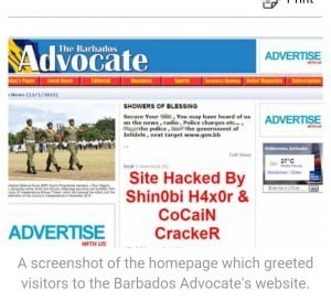 Barbadian social media users on venues like Facebook and WhatsApp began relaying screenshots of the cyber invasion.