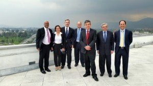 Members of the management teams of GEL and Ibero Caribe on the roof of the building in Colombia shortly after signing the final agreement. From left Anthony Ali - Managing Director GEL, Monica Palencia - Quality Assurance Director Ibero Caribe, William Putnam - Non Executive Director GEL, Charles Herbert - Chairman GEL, Stewart Massiah - President GCG, Jesus Mendez - Former Owner Ibero Caribe, Guillermo Gross - General Manager GCG Bogota