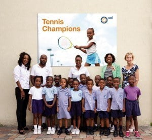 Denise M. Mendes (Sales Executive – Retail, SOL (BARBADOS) LTD.), Jamal O'Neale (Physical Education Teacher, Blackman and Gollop), Shari Walters-Belgrave (Marketing Assistant, SOL (BARBADOS) LTD.), Ms Olwin Walker (Principal Blackman and Gollop), Margot Thomson (Barbados Tennis Association)