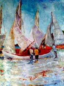 "Susan Mains delves into some of her familiar icons--the working boats of Grenada at regatta, as well as richly textured and coloured landscapes. Susan says, ""With so much trouble in the world, it is once again good to look at the value of life that we have in the Caribbean. Even the smallest bit of colour is something to be treasured."""