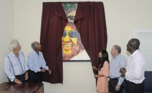 "The unveiling of ""Sir Gary on The Green"" as The Sandy Lane Charitable Trust offers thanks & appreciation to Jeena Chatrani (Artist), patrons Sir Martyn & Lady Sally Arbib and the portrait's subject Sir Gary Sobers for this gesture that ultimately benefits hundreds in fact thousands of children in Barbados, changing their lives in a positive way forever."