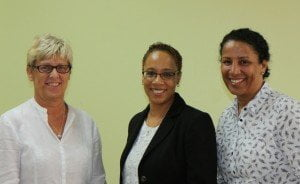 Trainers Bev Smithyman (left) and Kerry Harding (right) with UK Vice Consul Ann Lewis