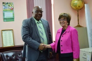 PM Dr Timothy Harris (left) with Her Excellency Linda Swarz Taglialatela (right)