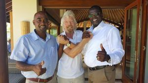 (l to r) Chief Fisheries Officer Alwyn Ponteen, Philanthropist and Investor Sir Richard Branson and Hon. Minister of Trade and Environment Claude Hogan