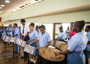 The students too were delighted to be the centre of attention and showed their appreciation in songs brilliantly performed by the school's steel pan orchestra.  Toro, a lover of pan music, said that he enjoyed the performance and promised to be playing with the troupe by the end of the year.