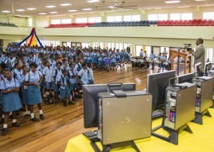 Morning Assembly, at Podium is St Lucy MP, Denis Kellman addressing students