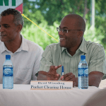 From left, Errol Catouse, Chairman of the Belize Internet Exchange Point and Bevil Wooding, Internet Strategist at Packet Clearing House, share a light moment at the launch of the Belize Internet Exchange Point in Belize City, Belize