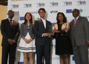 From left (RIYA2016); Mr. McHale Andrew, President, CAIPA Ms. Ana Arias Urones, Specialist, Integration and Trade Sector, IDB Mr. Gian Luis Pereyra, CEO, Kikaboni (Healthy Flow Agroindustrial SRL) Ms. Pamela Coke-Hamilton, Executive Director, Caribbean Export, Sen. D'arcy Boyce, Min. in the Office of the Prime Minister