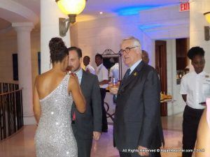 Maurice Hennessy greeting guests at Sandy Lane, he's also agreed to donate towards a 14 room Hospice for Sr Citizens. Mr Hennessy said he's been to Barbados before but this is the first time the public knew he was here...
