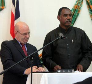(FILE IMAGE) Former Premier Reuben T. Meade (RIGHT) is questioning the statement by current Minister of Agriculture and Lands Claude Hogan, that the removal of sand was part of a project to prepare the beach for the turtles, which frequent it this time of the year.