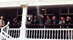 Sir Garfield Sobers ringing the five minute bell at Lord's cricket ground in honour of the Great Muhammad Ali