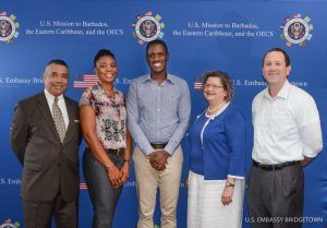 From left: Deputy Political/Economic Chief at U.S. Embassy Bridgetown Stephen Simpson; GES participant Malicka Cummings; GES participant Dale Trotman; Deputy Chief of Mission at U.S. Embassy Bridgetown Laura Griesmer; Deputy Public Affairs Officer at U.S. Embassy Bridgetown Jeff Barrus