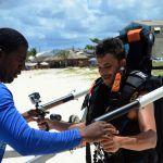 German actor Kostja Ullmann jetblading in Barbados for the BTMI European campaign