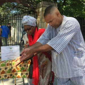 Victor Mooney joins Mother Jones for libation ceremony at Queens Botanical Garden