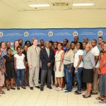 Professor Cardinal Warde (front center) poses with primary and secondary school STEM teachers in Barbados. Also in the photo is Deputy Public Affairs Officer at the U.S. Embassy Jeff Barrus (left center).