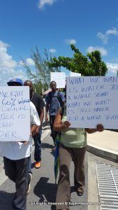 The protesters were joined by parliamentary representative Dwight Sutherland, MP for St George South and fellow Barbados Labour Party member Dale Marshall, who apologised on behalf of the Opposition for part of the current problems but reminded the public he sought to have issues redressed - he drew attention to how a desalination plant was created but the funds were insufficient for laying new mains.