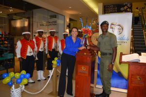 There was an air of ceremonial reverence in the mall, as Manager Debbie Lashley welcomed the Golden Anniversary Icon and its official escort.