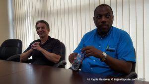 Chief Operations Officer of Beacon Insurance - Christopher Woodhams (left) - finally cleared the air with press and General Manager Brian Hennis (right) at their Sky Mall, Haggatt Hall headquarters, disclosing Beacon's side of the dispute which now has a November 2017 date in the law courts of Barbados.
