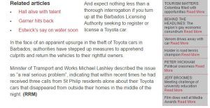 (SCREENSHOT CAPTURE) Managing Director of NASSCO Limited, Roger Hill also commenting, noted that Toyota was the most popular vehicle for Barbadian motorists, and also echoed sentiments from Minister of Transport and Works, Michael Lashley, stressing that Government needed to move quickly to put a new, more robust Road Traffic Act in place.