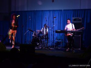 Carolyn Malachi, accompanied by Wes Watkins on drums, and Jerel Abraham on bass thrill the audience in Barbados at the Lloyd Erskine Sandiford Center.