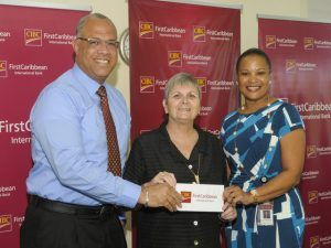 Recently, executives of regional bank CIBC FirstCaribbean International Bank, - Mark St. Hill and Donna Wellington presented a cheque for BDS $25,000 to Jenny Tryhane of the United Caribbean Trust to facilitate the purchase of the water filters for the community tanks, in the areas hardest hit by Matthew.