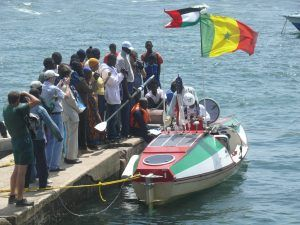 Victor Mooney prepares to depart from Goree Island, Senegal on the Spirit of Zayed in 2009