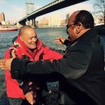 Equatorial Guinea Ambassador to the United Nations, His Excellency, Anatolio Ndong Mba, welcomes Victor Mooney at New York's Brooklyn Bridge on November 28, 2015 after a twenty-one month row from coast of Africa