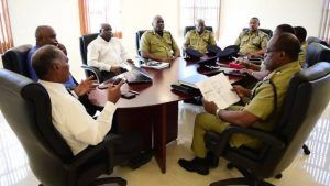 Cabinet members of the Nevis Island Administration headed by Premier of Nevis Hon. Vance Amory in meeting with members of the Royal St. Christopher and Nevis Police Force headed by Commissioner Ian Queeley at the Premier's office at Pinney's