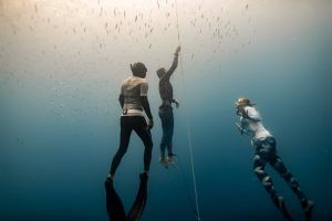 Representing Barbados for the first time at an AIDA International freediving competition, Johanna Loch-Allen handily finished a clean free immersion dive to 45 meters in one minute and :48 seconds time to garner her and her country their first national record. (Photos courtesy of Daan Verhoeven)