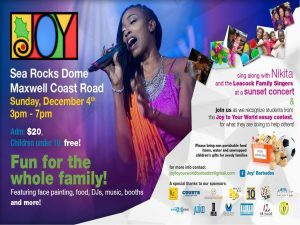 The deadline is November 24th, 2016 and the children will be recognized at an event on Sunday, December 4 at the Searocks Dome in Maxwell. Joy! will be a fun family day ending with a sunset concert featuring Nikita and the Leacock Family Singers!